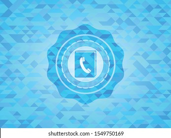 phonebook icon inside light blue emblem with mosaic background