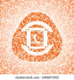 phonebook icon inside orange mosaic emblem