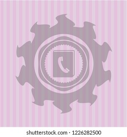 phonebook icon inside pink icon or emblem