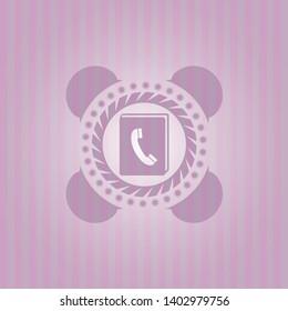 phonebook icon inside pink emblem. Retro