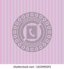 phonebook icon inside pink emblem
