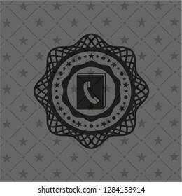 phonebook icon inside realistic black emblem