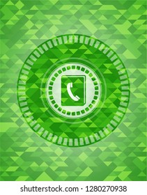 phonebook icon inside realistic green mosaic emblem