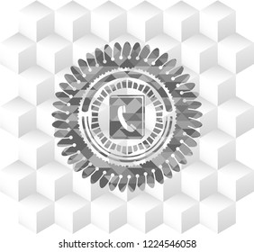 phonebook icon inside realistic grey emblem with cube white background