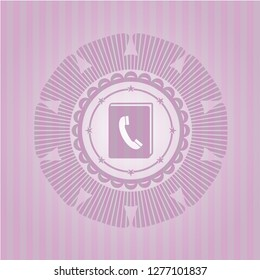 phonebook icon inside realistic pink emblem