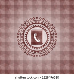 phonebook icon inside red badge with geometric pattern background. Seamless.