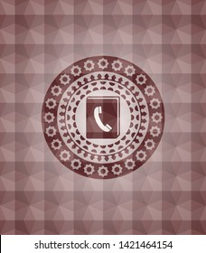 phonebook icon inside red emblem or badge with abstract geometric pattern background. Seamless.