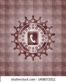 phonebook icon inside red geometric emblem. Seamless.
