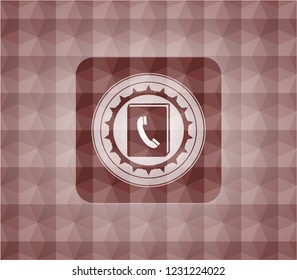 phonebook icon inside red seamless polygonal badge.