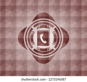 phonebook icon inside red seamless badge with geometric background.