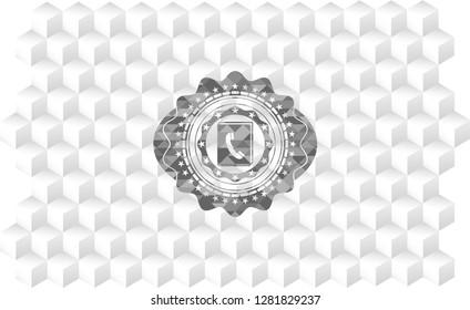phonebook icon inside retro style grey emblem with geometric cube white background