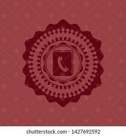 phonebook icon inside retro style red emblem
