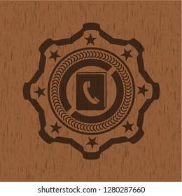phonebook icon inside retro wooden emblem