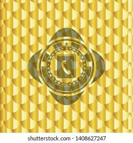 phonebook icon inside shiny golden emblem. Scales pattern. Vector Illustration. Detailed.
