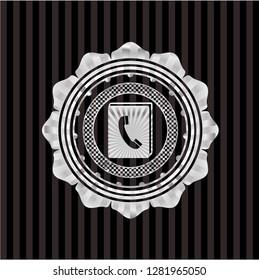 phonebook icon inside silver badge or emblem