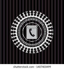 phonebook icon inside silver emblem