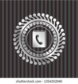 phonebook icon inside silver shiny emblem