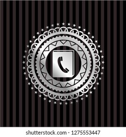 phonebook icon inside silvery emblem