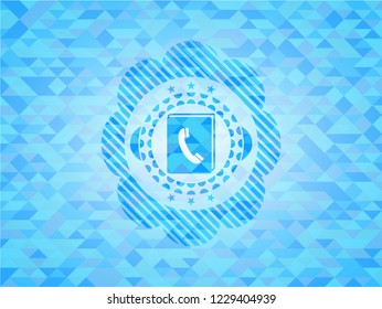 phonebook icon inside sky blue emblem with mosaic background