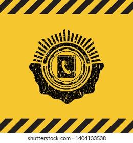phonebook icon inside warning sign, black grunge emblem. Vector Illustration. Detailed.