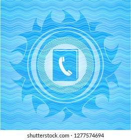 phonebook icon inside water badge background.