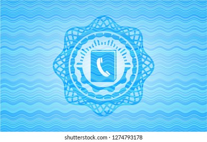 phonebook icon inside water wave representation badge background.