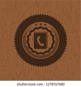 phonebook icon inside wood signboards