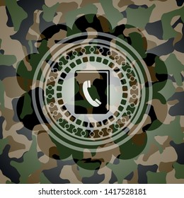 phonebook icon on camouflaged pattern