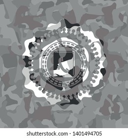 phonebook icon on grey camouflage pattern