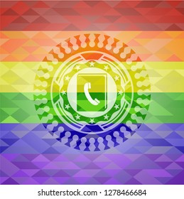phonebook icon on mosaic background with the colors of the LGBT flag