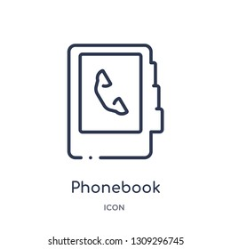 phonebook icon from strategy outline collection. Thin line phonebook icon isolated on white background.