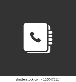 phonebook icon vector. phonebook sign on black background. phonebook icon for web and app