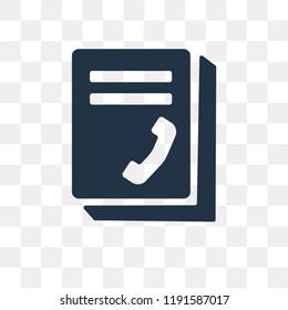 Phonebook vector icon isolated on transparent background, Phonebook transparency concept can be used web and mobile