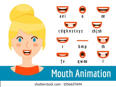 Phoneme mouth shapes collection for sound pronunciation. Blond woman with blue eyes and red lips in cartoon flat style. Vector illustration