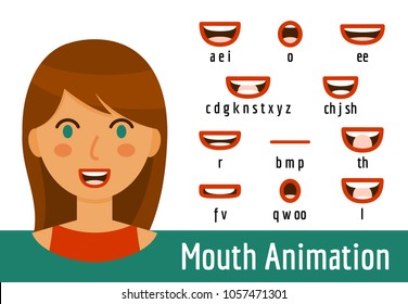 Phoneme mouth shapes collection for sound pronunciation. Brunette woman with green eyes and red lips in cartoon flat style. Vector illustration