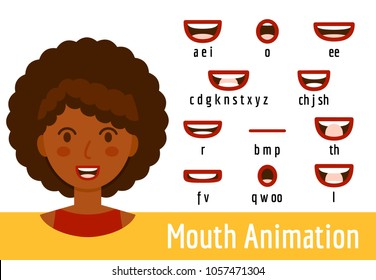 Phoneme mouth shapes collection for sound pronunciation. African american woman with red lips in cartoon flat style. Vector illustration