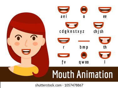 Phoneme mouth shapes collection for sound pronunciation. Woman with red hair, chestnut eyes and red lips in cartoon flat style. Vector illustration
