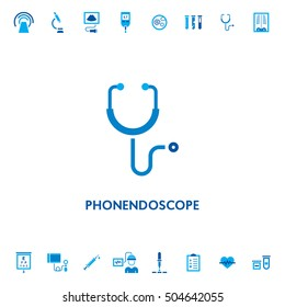 Phonendoscope diagnostic vector icon logo. Medical stethoscope health care design illustration. Doctor equipment research symbol isolated on white background
