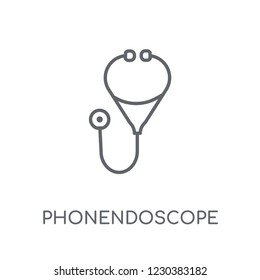 Phonendoscope linear icon. Modern outline Phonendoscope logo concept on white background from Health and Medical collection. Suitable for use on web apps, mobile apps and print media.