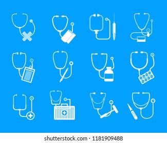 Phonendoscope stethoscope icons set. Somple illustration of 12 phonendoscope stethoscope vector icons for web