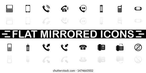 Phones icons - Black symbol on white background. Simple illustration. Flat Vector Icon. Mirror Reflection Shadow. Can be used in logo, web, mobile and UI UX project.