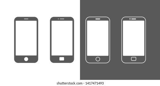 Phones icons set. Mock up mobile, devices, gadget, smartphone for mobile apps interface demonstration, vector isolated on white background