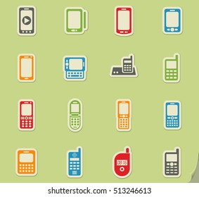 phones web icons on color paper stickers for user interface