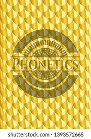 Phonetics golden emblem. Scales pattern. Vector Illustration. Detailed.