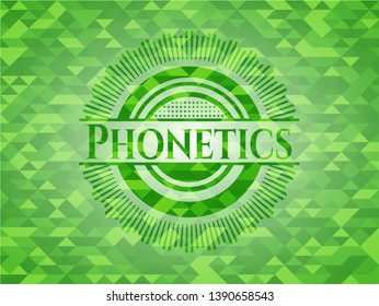Phonetics green emblem with mosaic background. Vector Illustration. Detailed.