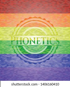 Phonetics lgbt colors emblem. Vector Illustration. Mosaic.