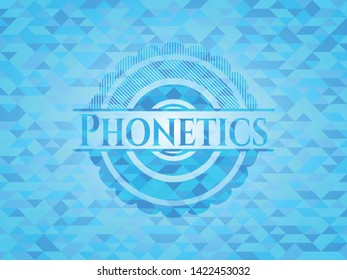 Phonetics light blue emblem. Mosaic background