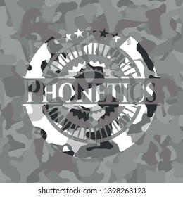 Phonetics on grey camo texture
