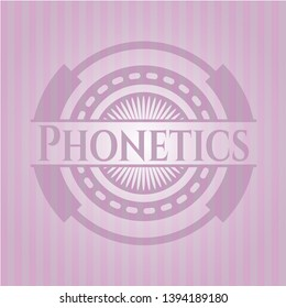 Phonetics pink emblem. Vintage. Vector Illustration. Detailed.