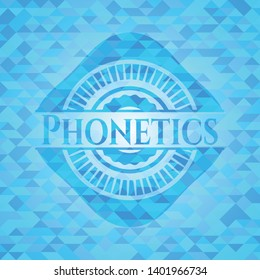 Phonetics realistic light blue emblem. Mosaic background